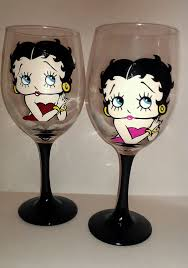 betty boop hand painted wine glasses 18 00 via etsy boop oop