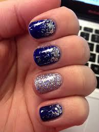 royal blue nail polish with silver glitter tips nail art