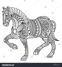 horse coloring book adults stock vector 636508343 shutterstock