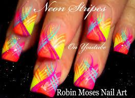 neon stripes nail art design striped nails tutorial youtube