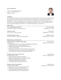 Resume Objective For Part Time Job by Cv Of Wenhui Zheng