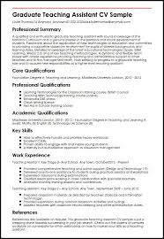 Example Of Resume For Fresh Graduate Information Technology by Graduate Teaching Assistant Cv Sample Myperfectcv