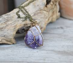 purple crystal stone necklace images Amethyst wire wrapped stone mineral jewelry purple stone jpg