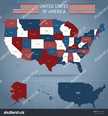 Political Map Us Political Map Usa Poster American Flag Stock Vector 418361062