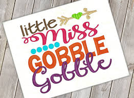 miss gobble gobble embroidery saying gobble design