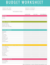 How To A Household Budget Spreadsheet Free Printable Household Budget Worksheet