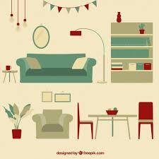 free living room furniture vintage living room furniture vector premium download