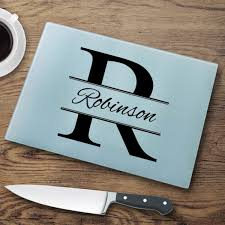 personalized glass cutting board personalized sted monogram glass cutting board