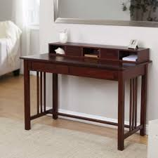 Modern Desks Small Spaces Furniture Brown Varnished Mahogany Writing Desk With Two Parallel