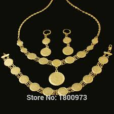 coin jewelry necklace images Luxury coin jewelry set necklace bracelet earrings gold color jpg