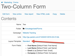 template layout div how to create a 2 column pardot form