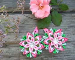 Flower Clips For Hair - purple flower hair clip set of 2 kanzashi fabric flower bobby