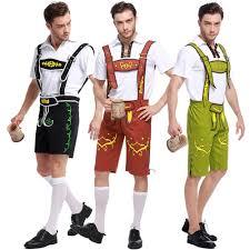 Male Costumes Halloween Bavarian Guy Costume German Lederhosen Shorts Oktoberfest