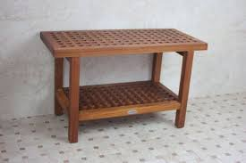exciting solid wood shower bench of simple and neat making wood