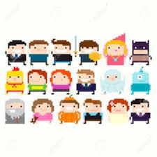 many pixel art funny characters businessman warrior princess