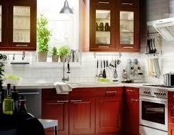 Attractive Kitchen Backsplash Cherry Cabinets White Counter - Backsplash for cherry cabinets