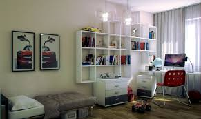 White Student Desks by White Wall Paint With Bookshelving Also Student Desk Red Chair
