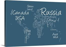 world map with country names image world map with countries made up of text names blue background