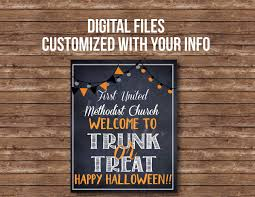 welcome sign trunk or treat digital files flyer sign