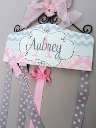 bow holder pink grey chevron personalized hair bow holder