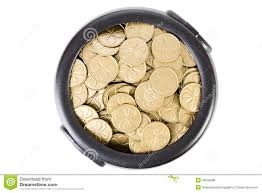 treasure pot full of gold shamrock coins stock photo image