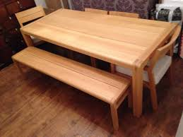 habitat radius large oak dining table bench and chairs probably need small size