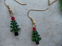 christmas earrings handmade swarovski beaded christmas tree earrings jewelry meylah