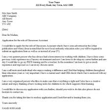 classroom assistant cover letter