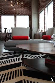 Living Rooms With Grey Sofas by Loft Modern Living Room Exposed Brick Wall Black White Red
