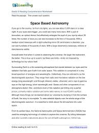Flag Day Reading Comprehension Worksheets 5th Grade 5 Reading Space Based Astronomy Radiation Telescope