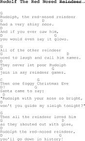 christmas carol song lyrics chords rudolf red nosed