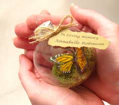 butterfly memorial christmas ornament monarch captive inside