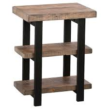 reclaimed wood end table industrial 2 shelf end table reclaimed wood rustic natural