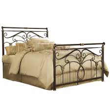 iron bed marbled russet finish traditional scroll work