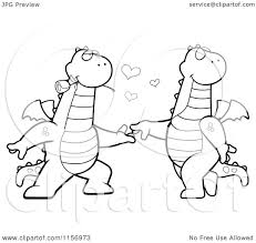 cartoon clipart of a black and white romantic dragon pair dancing