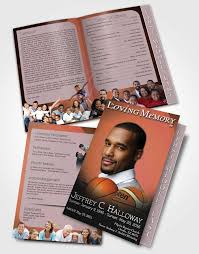 basketball c brochure template 2 page graduated step fold funeral program template brochure ruby