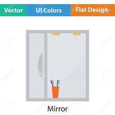 bathroom mirror icon flat color design vector illustration