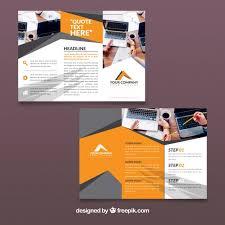 free tri fold business brochure templates orange and grey trifold business brochure template vector free