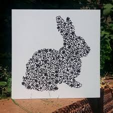 rabbit card by folk papercuts by suzy