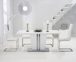 white high gloss table buy mark harris vigo white high gloss dining table 160cm with 4