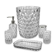 Glass Bathroom Accessories Sets Crystal Ball Glass Bathroom Accessories In Clear Bed Bath U0026 Beyond