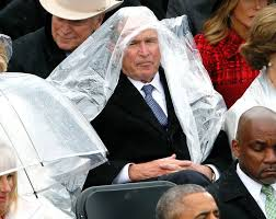 george w bush on his inauguration poncho problems people com