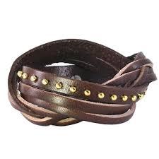 buckle leather wrap bracelet images Genuine leather wrap bracelet with strands partial braid and jpg