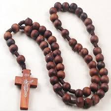 bead necklace with cross images Fashion wood cross necklace long sweater chain necklace men women jpg
