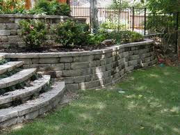 outstanding stone landscaping ideas with outstanding small backyard retaining wall ideas images design