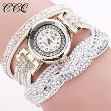 leather rhinestone bracelet images Ccq luxury rhinestone long belt braided bracelet watch women jpg