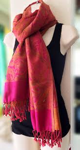 paisley pashmina shawl pink and orange large shawl 100 pure