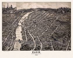 United States Map Poster by Vintage Map Of Elgin Illinois 1880 Kane County Poster Vintage Maps