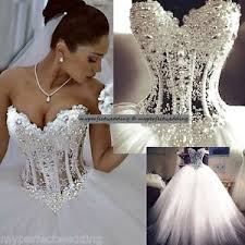 beaded wedding dresses all sizes heavily pearl beaded wedding dress see through lace