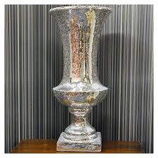 Large Mosaic Vase Silver Mosaic Vase Mirror Glitter Sparkle Glass Urn Planter Large